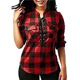 ❤️ karierte bluse,Loveso Tops Damen,Damen Schnürung V-Ausschnitt 3/4 Ärmel Loose Kariertes Hemd Bluse Oversize Cardigan Oberteil Top (Rot❤️, S)