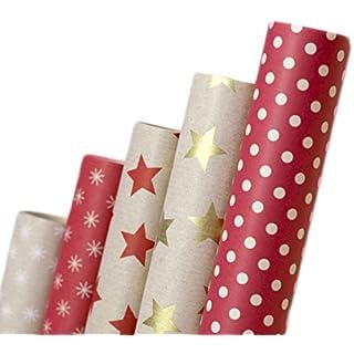 Geschenkpapier Retro Ökologisches Recycling Papier 2m x 70cm autooptimierer Farbige Natur Geschenkverpackung für Geburtstage Hochzeiten Taufe oder Weihnachten 5 Rollen