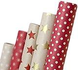 Retro Papel de regalo I A1250I alta calidad produndidad de papel para regalos I para cumpleaños, bodas o como Navidad Papel (5rollos de papel reciclado ecológico)