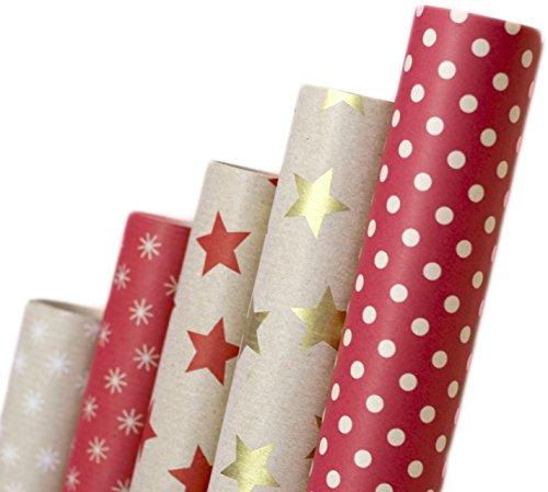 Nature Geschenkpapier aus Recycling-Papier - Geburtstagspapier Geschenkverpackung für Geburtstag Papier Geschenke - 5 Rollen Set
