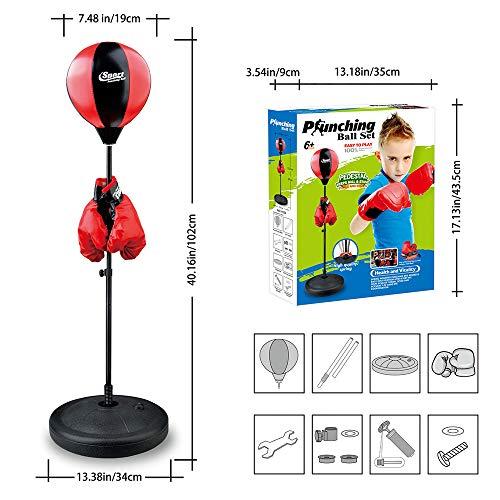 CX Best Kinder Boxing Ball Set, 27in-40in einstellbar mit Handschuhen & Ständer Kids Boxing Training Ball Stehen Tumbler Geschwindigkeit & Beweglichkeit Training Boy Sandsack Sport Spielzeug -