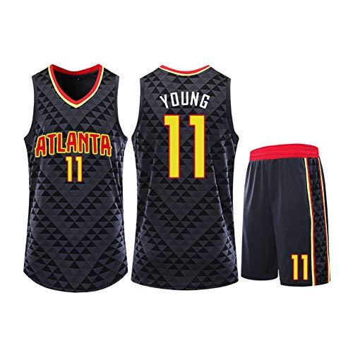 Basketball-Trikot für Herren - Atlanta Hawks # 11 Trae Young Unisex Sportswear T-Shirts Tops ärmellos Atmen Kit Mesh doppelseitig Sport Jersey Training Basketball Anzug XXXL Schwarz