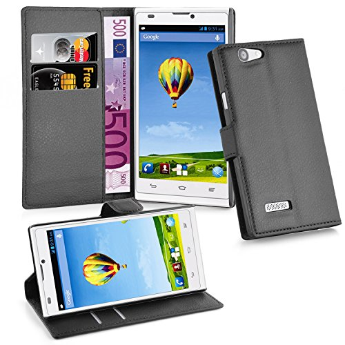 Cadorabo - Book Style Hülle für ZTE BLADE L2 - Case Cover Schutzhülle Etui Tasche mit Kartenfach in PHANTOM-SCHWARZ