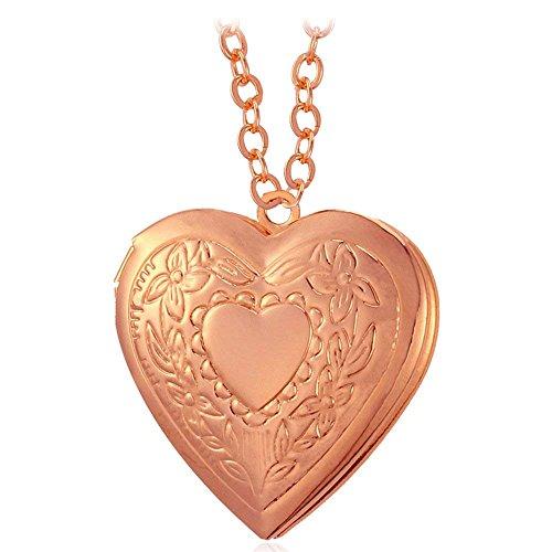 7526140d225f Dokreil Medallón en Forma de Corazón Locket Photo Necklace Gold Silver  Plated Colgante Collares para Mujer