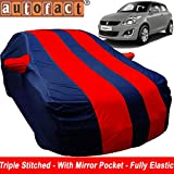 Autofact Car Body Cover for Maruti Swift (Mirror Pocket , Premium Fabric , Triple Stiched , Fully Elastic , Red / Blue Color)