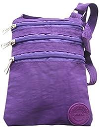 Ladies Crinkled Nylon Small Cross Body Bag Organizer
