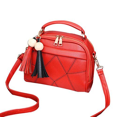 Lady Vintage Tassels Pu Borsa In Pelle Borsa A Tracolla Borsa A Tracolla Top-handle Per Donne Multicolore Red