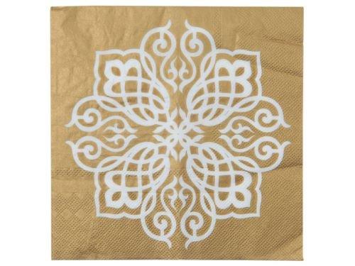 weiß-gold, 33 x 33 cm, 20 Stück (Orientalische Hochzeit)