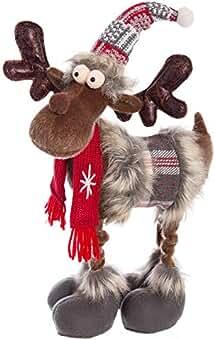 Peluche reno decorativo Navidad (Medidas: 18x13x35cm)