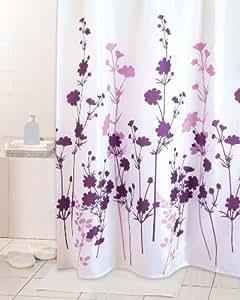 39 rideau de douche textile 180 x 200 cm motif vitality fleurs mauve blanc cuisine. Black Bedroom Furniture Sets. Home Design Ideas