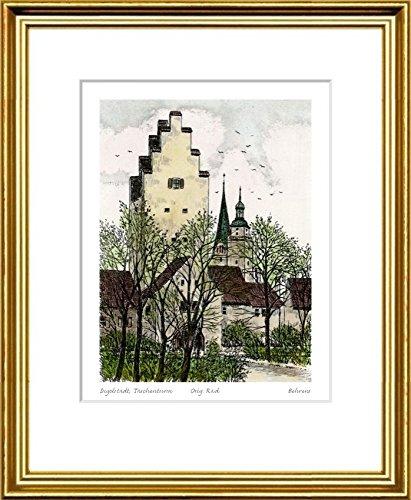 Handkolorierte original Radierung Ingolstadt, Taschenturm im Rahmen Goldkehle hinter Passepartout, Graphik, kein Kunstdruck, kein Leinwandbild