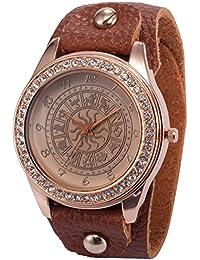 AMPM24 WAA649 - Reloj para mujeres, correa de cuero color marrón