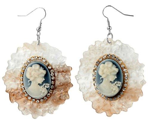 Lovely Lauri Damen Vintage Acryl Ohrringe Medallion und Strass (Strass Acryl Designer)