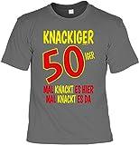 Mega-Shirt Cooles T-Shirt Zum 50. Geburtstag T-Shirt Knackiger 50iger Mal Knackt ES Hier Mal Knackt ES Da Geschenk Zum 50 Geburtstag 50 Jahre Geburtstagsgeschenk 50-Jähriger