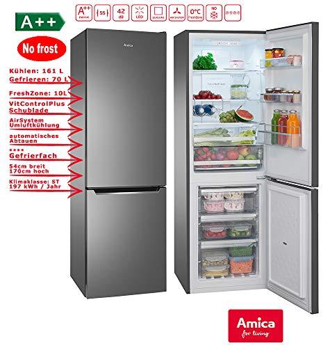 Amica KGCN 387 110 S Kühl-Gefrierkombination mit No Frost - 55er Breite, Schwarz/Edelstahl Look, A++