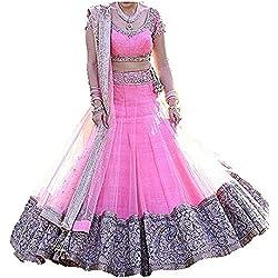 Akk Enterprise Women's Silk Lehengha Choli Georgette Lehenga Choli (Pink_Free Size)