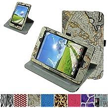 Acer Iconia One 8 B1-810 Rotación Funda,Mama Mouth 360° Rotación PU Cuero Con Soporte Funda Caso Case para Acer Iconia One 8 B1-810 Tablet,Mapa