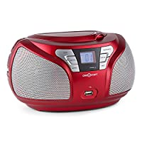 oneConcept Groovie RD Boombox �?? CD-Player �?? Stereo �?? Bluetooth �?? FM Radio Tuner �?? AUX Input �?? MP3 �?? USB �?? Full-Range Speaker �?? Highly Mobile �?? Compact Dimensions �?? Folding Carrying Handle �?? LCD Display �?? Anti-Slip Rubber Pads �??