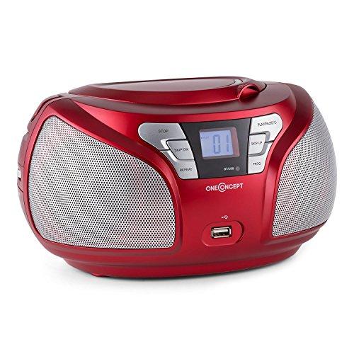 oneConcept Groovie RD • CD-Radio • Boombox • CD-Player • Bluetooth-Schnittstelle • MP3-fähiger USB-Port • UKW-Radiotuner • 3,5-mm-Klinken-AUX-Eingang • LCD-Display • Wiedergabeprogrammierung • Netz- / Batterie-Betrieb • tragbar • rot
