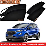 #8: Autofact Magnetic Window Sunshades/Curtains for ford Ecosport Front with Zipper and Rear without Zipper] (Black) - Set of 4 Pieces