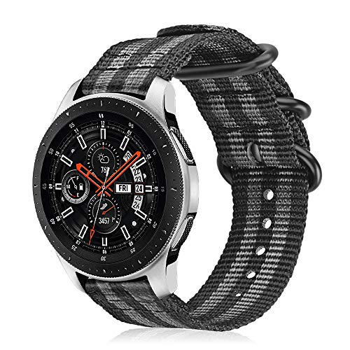 Fintie Armband kompatibel für Galaxy Watch 46mm / Gear S3 Classic/Gear S3 Frontier/Huawei Watch GT - Nylon Uhrenarmband Sport Armband verstellbares Ersatzband mit Edelstahlschnallen, Schwarz/Grau
