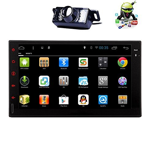 Rear View Camera Quad Core Android 5.1 Double Din Car Stereo 7 inch capacitive touch screen tablet entertainment – InDash head unit FM RDS radio tuner, WiFi, Bluetooth hands free, GPS navigation
