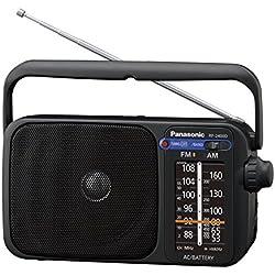 Panasonic Radio FM Portable RF-2400DEG-K Radio FM/AM, fonctionnement sur secteur ou piles, Format compact 23x12 cm, noir - Version Française