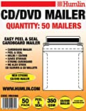 Pack of 50 CD/DVD CARDBOARD MAILER - Easy Peel & Seal Mailer
