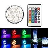TKOOFN RGB LED Unterwasserbeleuchtung Unterwasserlicht Unterwasser Strahler Teichbeleuchtung Unterwasserleuchte Tauchlampe (10 LEDs / Stück) mit 4 Fernbedingungen - Bunt und Wasserdicht (1 Stück)