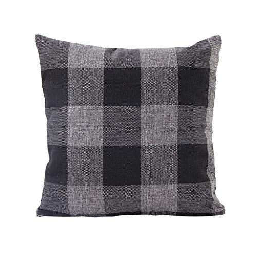 FeiliandaJJ Kissenbezug 65x65cm Klassischer Gestreiftes Plaid Leinen Soft Zierkissenbezüge Large Size Decorative Square Pillowcase (Schwarz)