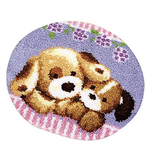 IPOTCH Knüpfteppich Formteppich für DIY Handarbeit Teppich mit schöne Bilder, 50x50cm - Zwei Hunde