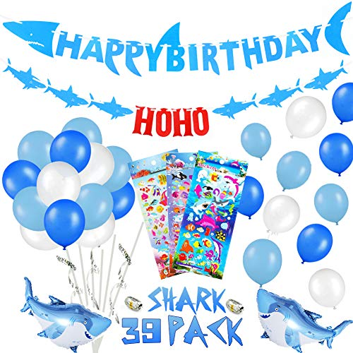 stag Deko Set für Kinder, Hai Alles Gute Zum Geburtstag Girlande, Bunt Luftballons mit Meerestier Fische Sticker , Unter dem meer Party Dekoration für 1ter 2 3 4 -8 Jahre Jungen ()