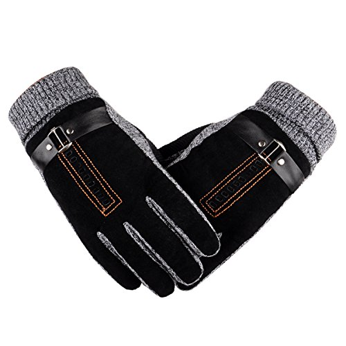 Herren Winter Handschuhe, Youson Girl® Herren Leder Handschuh Winddicht Warme Thermal Handschuh Abriebfest Outdoor Sport Handschuh (schwarz)