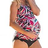 Damen Umstands Tankini Große Größen Maternity Bademode Swimwear Schwangerschafts Badeanzug Strandbekleidung Träger Schwimmanzug Oberteile + Bikini Unterteil Drucken L Kootk