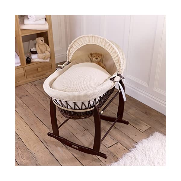 Waffle Dark Wicker Moses Basket - Cream  Breathable Waffle cotton dressings are super soft next to your baby's skin. Comes complete with two carry handles, adjustable hood, 2.0 tog coverlet & mattress. The Moses basket is made using sturdy, lightweight wicker 2
