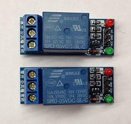 SRD de 05vdc de SL de c 1Channel, 5V DC 10A Low Level Trigger Relay Module, Bobina de 5V Voltaje Módulo de relé (2) STK Kit for Ardunio and other Development Environments, rbtmkr