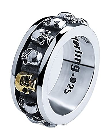 SaySure - 925 Sterling Silver Punk Skull style ring (SIZE : 9)