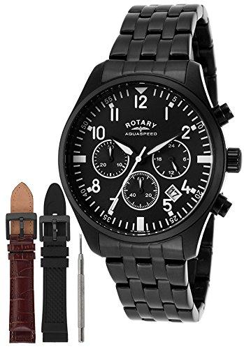 Rotary GB00110/04/KIT - Reloj de pulsera hombre, revestimiento de acero inoxidable, color negro