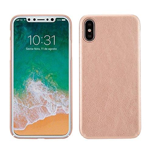 Case für iPhone X, Thin Fit Hülle PU Leder Tasche Schutzhülle mit Soft Feel Coating für für iPhone X, Braun Roségold