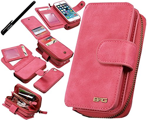 Urvoix iPhone SE 5S 5 Hülle, Premium Leder Reißverschluss Geldbörse Multifunktionale Handtasche Abnehmbare, abnehmbare magnetische Tasche mit Flip-Kartenhalter-Abdeckung für Apple iPhone 5 5S SE (Kartenhalter Iphone 5s Fall)
