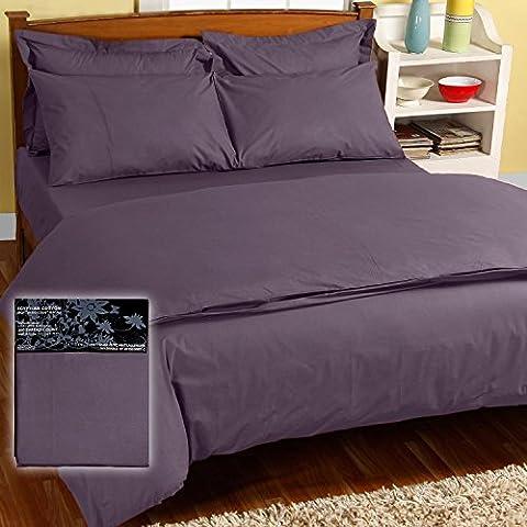 Homescapes Sábana bajera ajustable 100% algodón egipcio 200 hilos Color Morado 140 x 190 cm