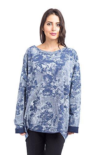 Abbino d15A93 Damen Shirts Tops - Made in Italy - 6 Farben - Damenshirts Damentops Frühjahr Übergang Herbst Winter Unifarben Ladies Taillenlang Freizeit Feminin Langarm Muster Locker Sitzend Blau