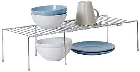 INDIAN DECOR White Expanding Shelf Kitchen Cabinet Storage Adjusting Organizer - White