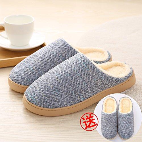 LaxBa Femmes Hommes Chaussures Slipper antiglisse intérieur Bleu foncé