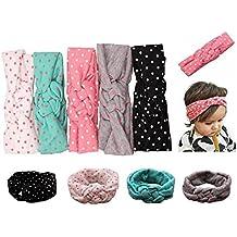 Jastore® bebé turbante pelo niñas recién nacido diadema arco accesorios banda bonita (Estilo 7 (5 piezas))