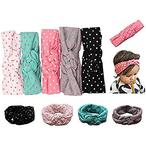 Jastore® bebé turbante pelo niñas recién nacido diadema arco accesorios banda bonita (Estilo 7 (5