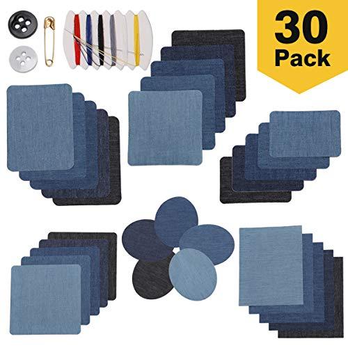 LAOYE Patches zum aufbügeln 30-teilig Bügelflicken 5 Farben Flicken zum aufbügeln Jeans 6 Größe Aufbügelflicken für Hosen & Jacken, 30 STK. + Nähzeug