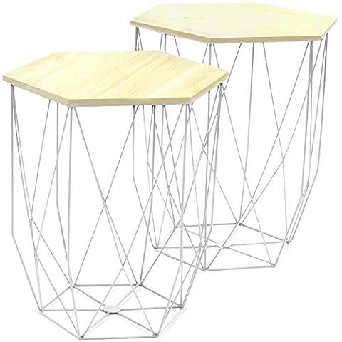 Promobo - Ensemble Duo De Table Gigogne Filaire Blanc Design Cosy Scandinave