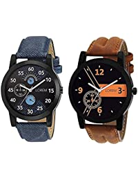 LOREM LR01-02 New Latest Designer Collection Chronograph Pattern Stylish Blue-Brown Leather Analog Watch For Men
