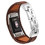 per Fitbit carica 2 fasce pelle fibbia in pelle cavo metallico braccialetto braccialetto piccola luce marrone